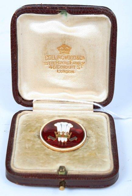 1: Prince of Wales Gold & Enamel Scarf Pin c1910