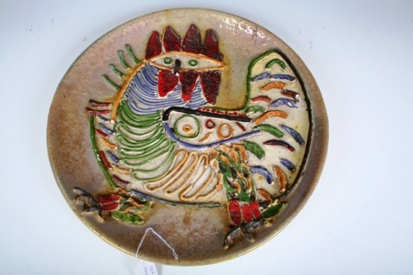 4: South American Luster Glazed Rooster Charger