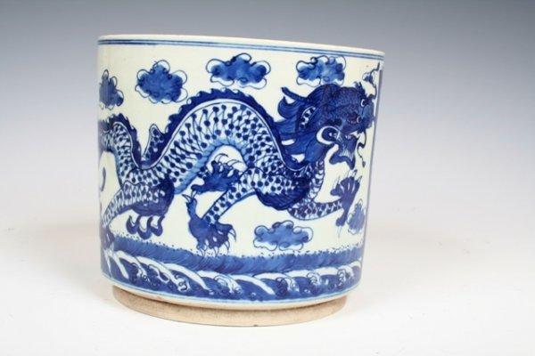 23: Republican Period Chinese Blue & White Brush Pot