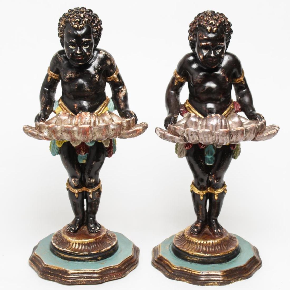 Italian Venetian Polychrome Wood Blackamoors, Pair