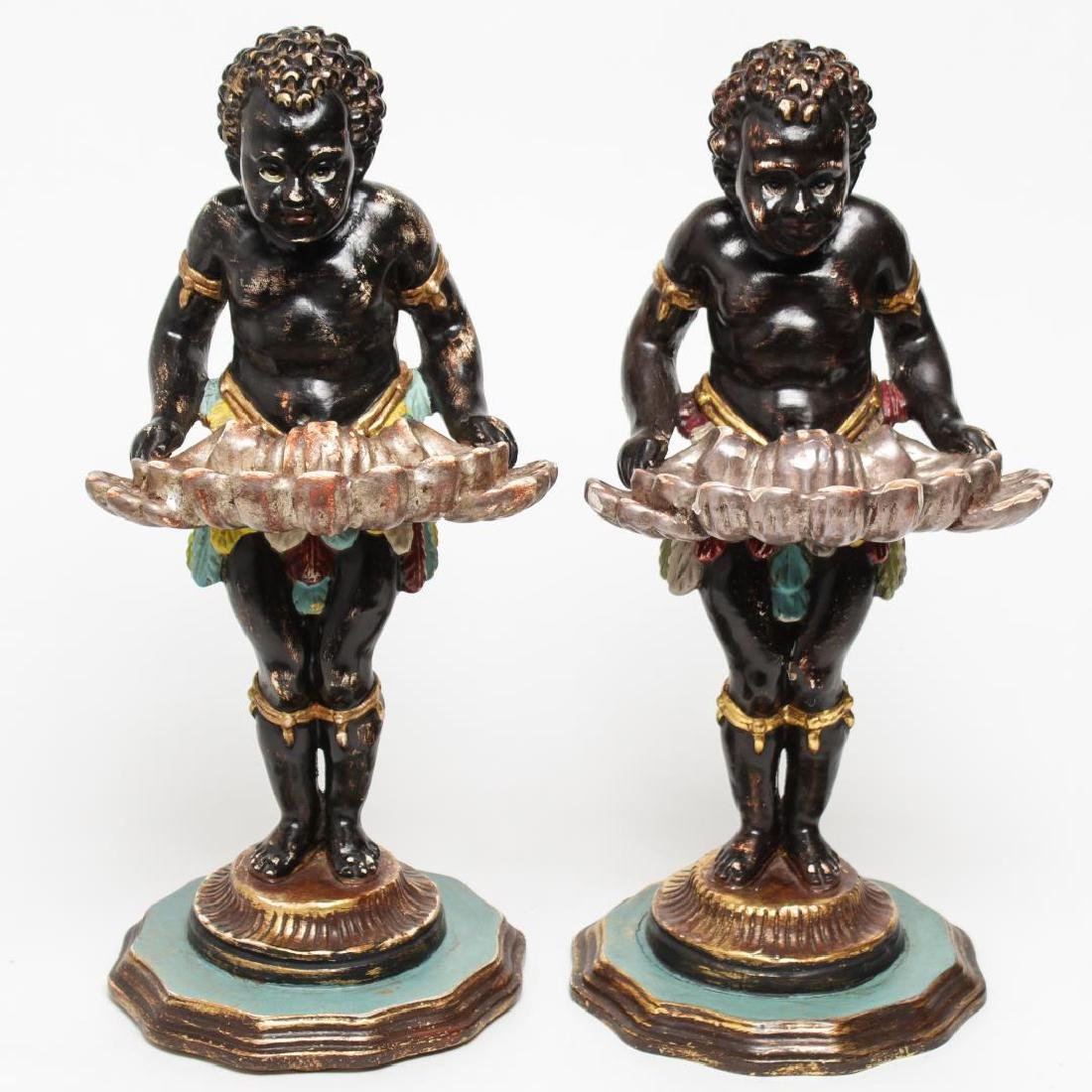 Italian Venetian Polychrome Wood Blackamoors, Pair