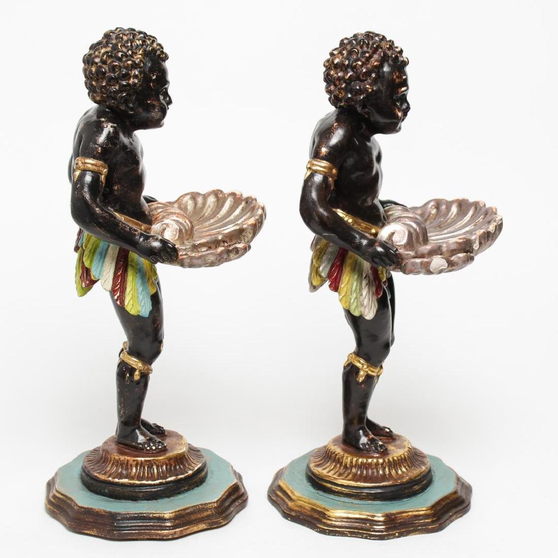 Italian Venetian Polychrome Wood Blackamoors, Pair - 2