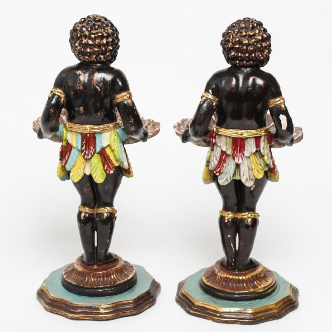 Italian Venetian Polychrome Wood Blackamoors, Pair - 3