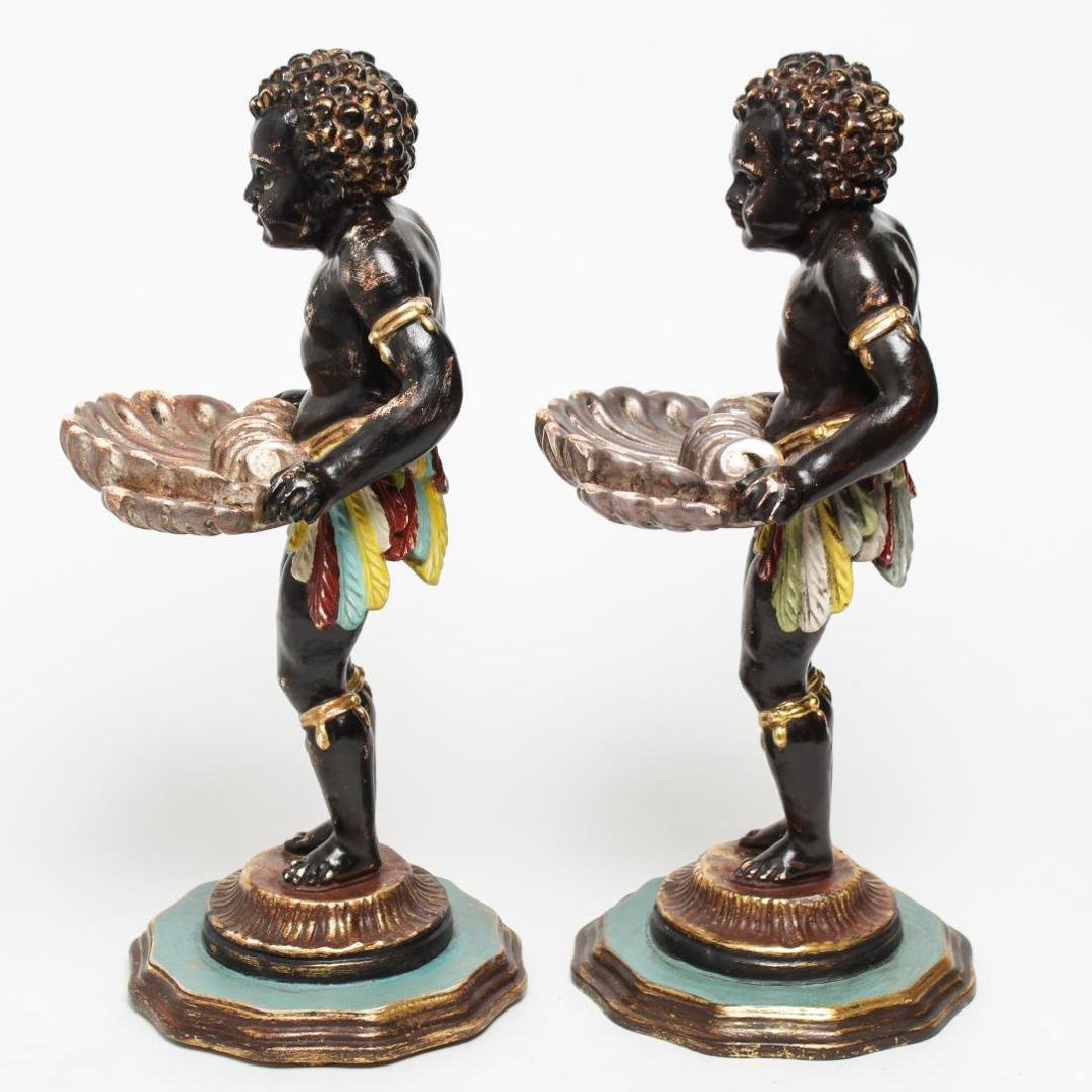 Italian Venetian Polychrome Wood Blackamoors, Pair - 4