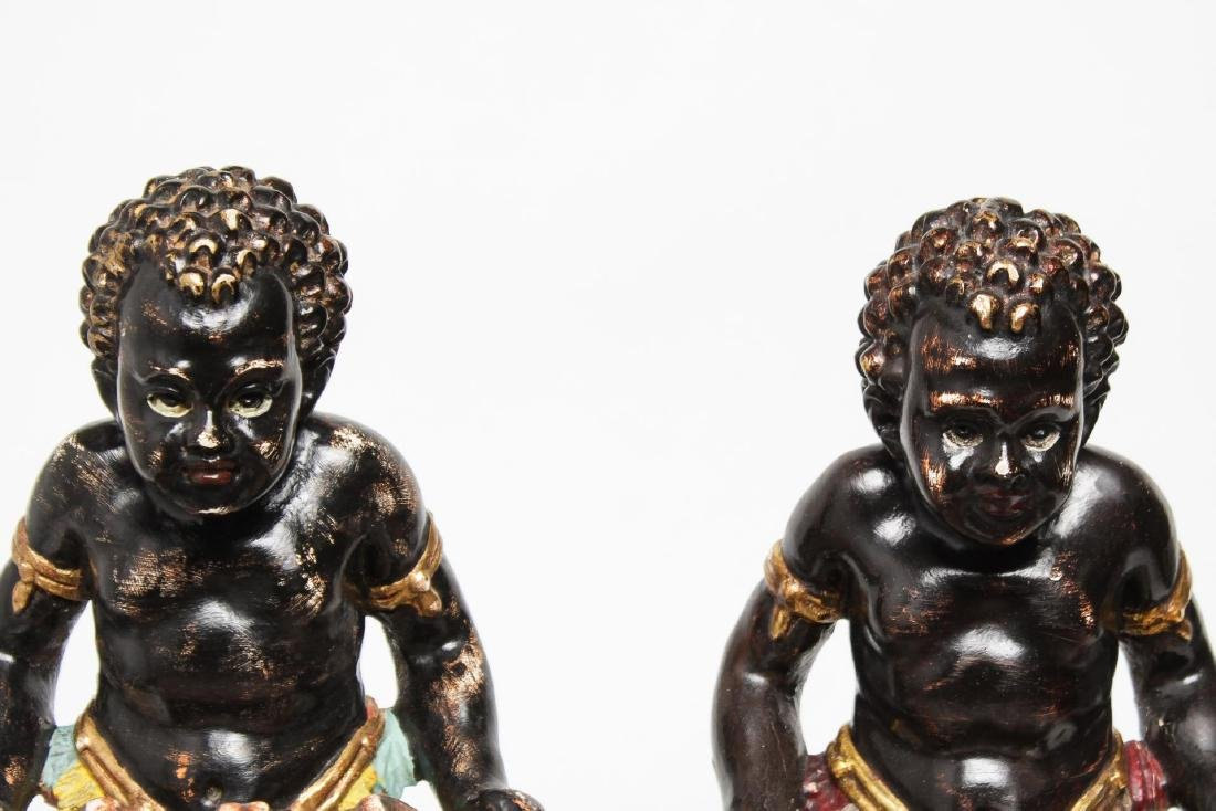 Italian Venetian Polychrome Wood Blackamoors, Pair - 5