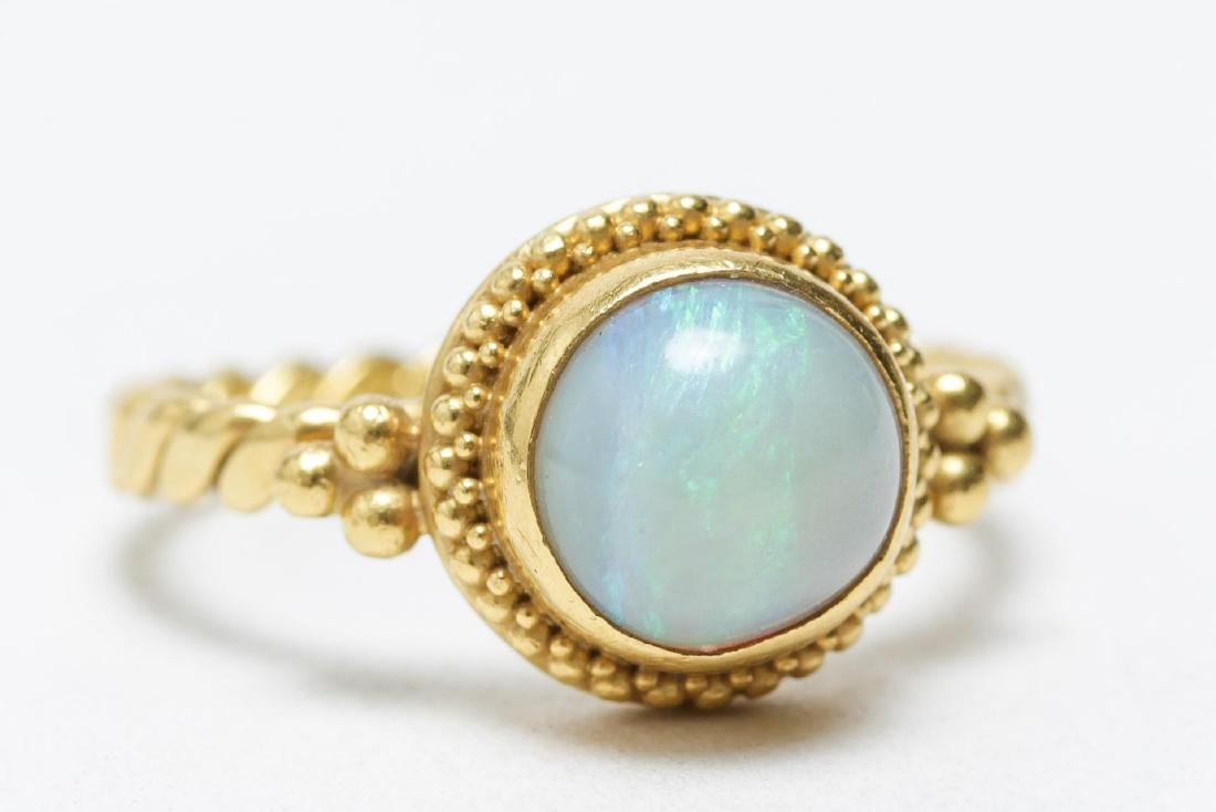 Opal & 18K Gold Solitaire Ring