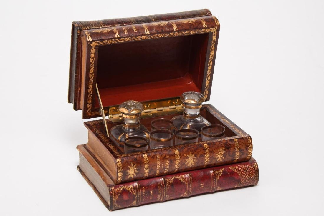 French Tantalus Liquor Set, False-Book Form