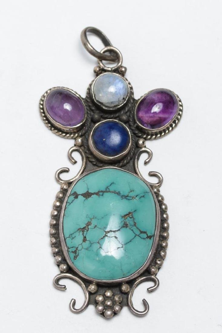 Tibetan Silver Pendant, w. Turquoise & Amethyst