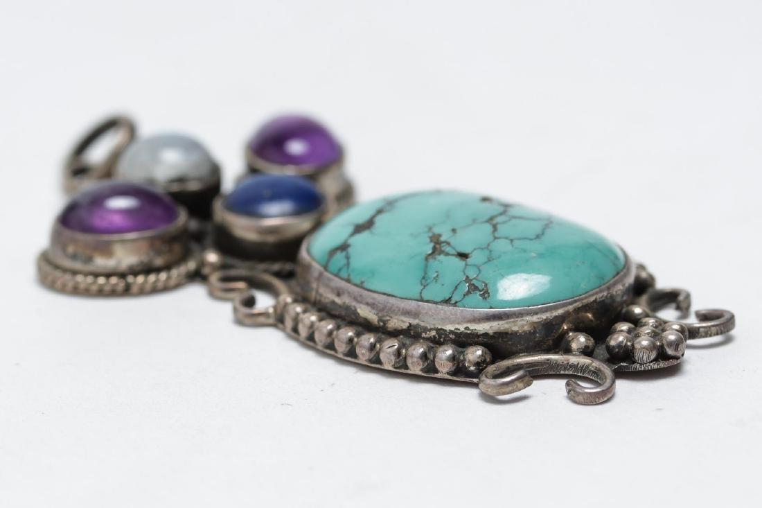Tibetan Silver Pendant, w. Turquoise & Amethyst - 3