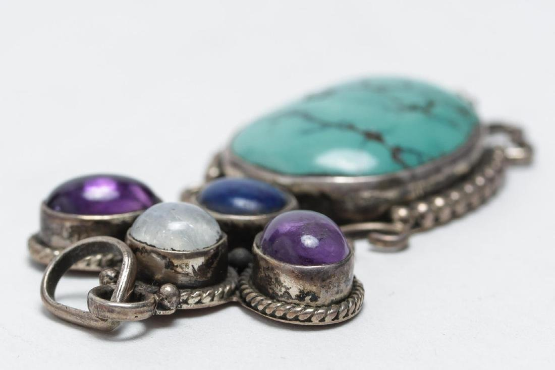 Tibetan Silver Pendant, w. Turquoise & Amethyst - 4