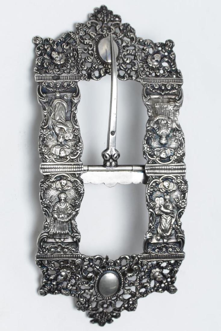 Judaica Silver Belt Buckle, Netherlands, Antique