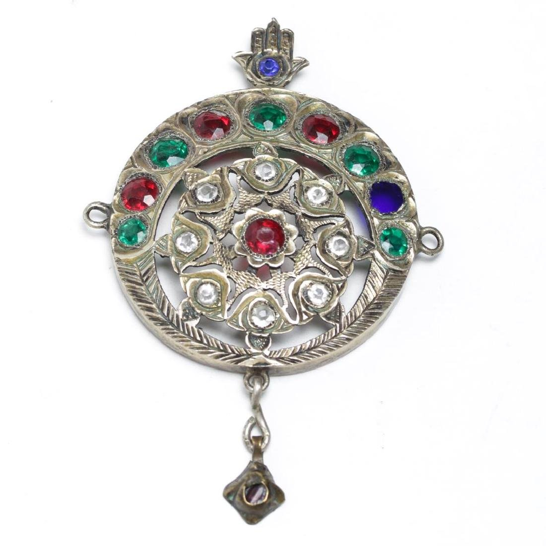 Middle Eastern Silver Pendant, w. Hamsa & Paste
