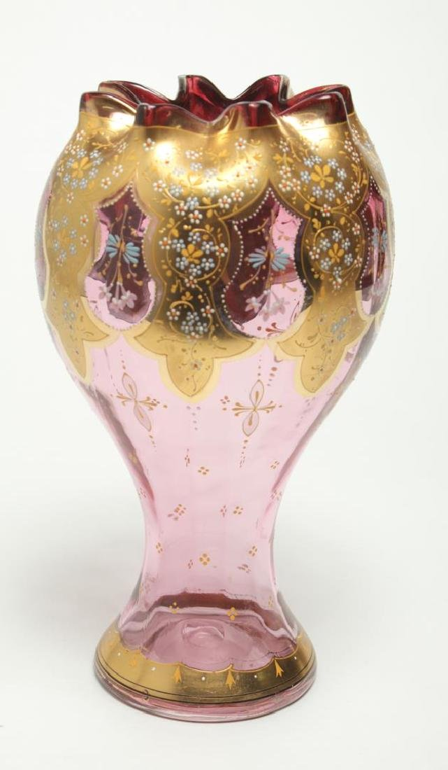Moser Bohemian Czech Glass Vase, Antique 19th C.