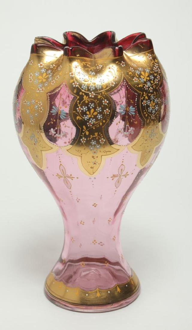 Moser Bohemian Czech Glass Vase, Antique 19th C. - 3