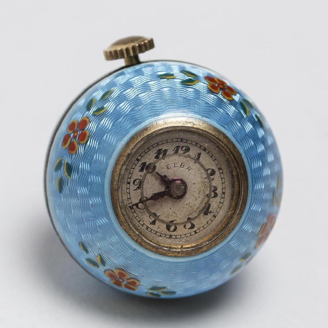 Guilloche Silver Pendant Watch, Spherical, Swiss