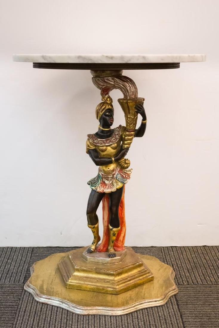 Blackamoor Table, Venetian-Manner with Marble Top