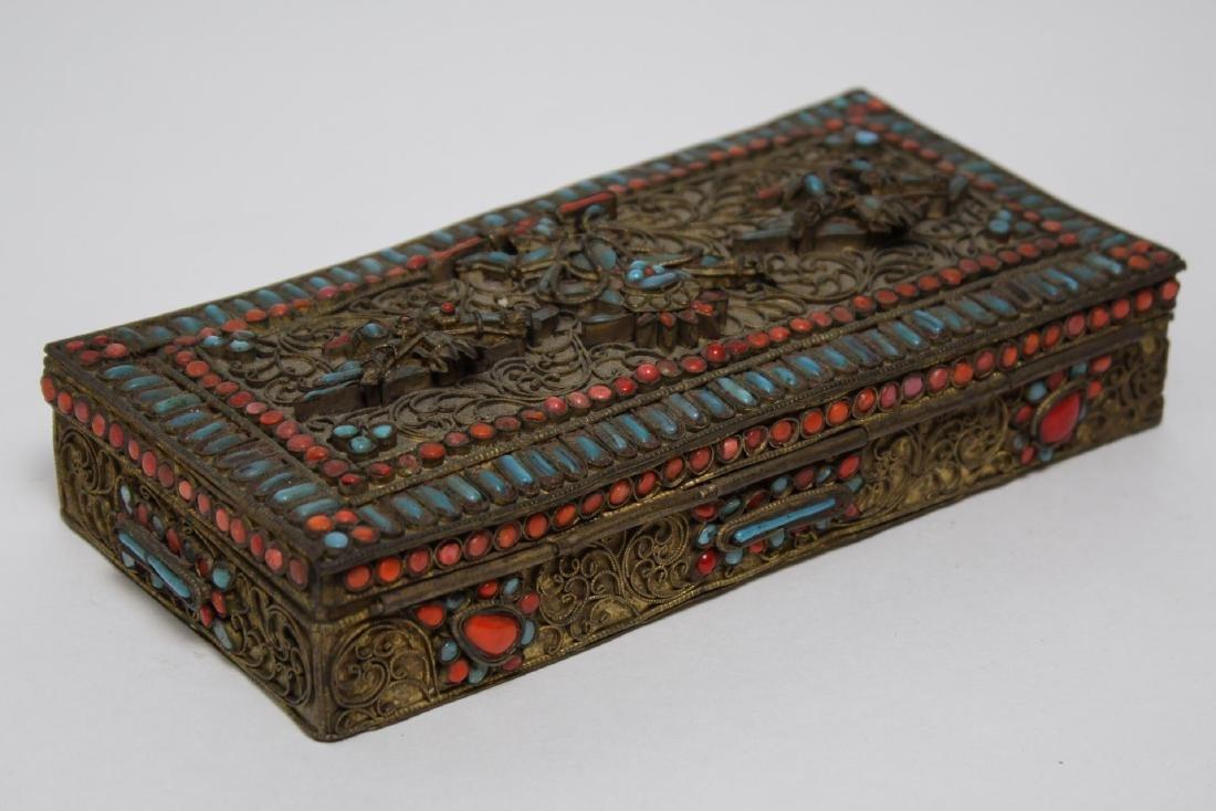 Chinese-Tibetan Brass Box w. Turquoise & Coral
