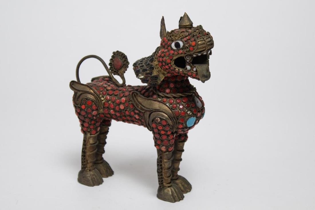 Chinese-Tibetan Brass Foo Dog w. Turquoise & Coral