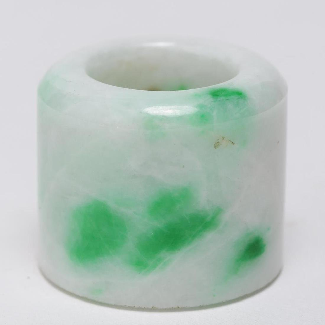 Chinese Mottled Jade Archer's or Thumb Ring, Man's