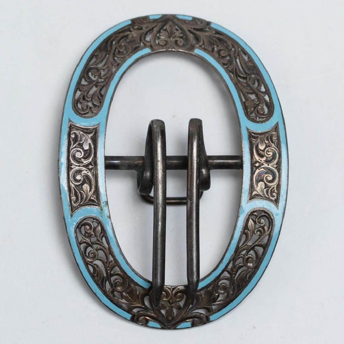 Enameled Silver Belt Buckle, Chased & w. Champleve