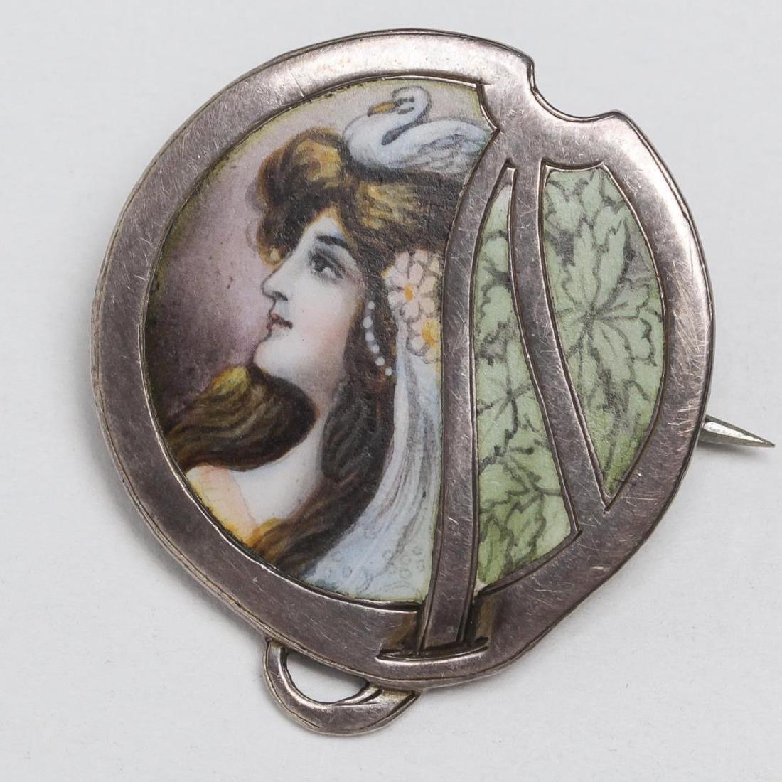 German Enameled Silver Portrait Brooch, Swan Maid