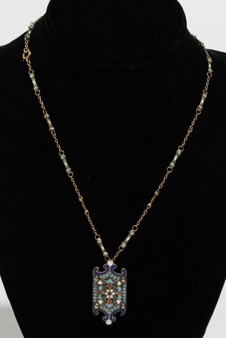 Russian Enameled Silver Pendant, on Enameled Chain