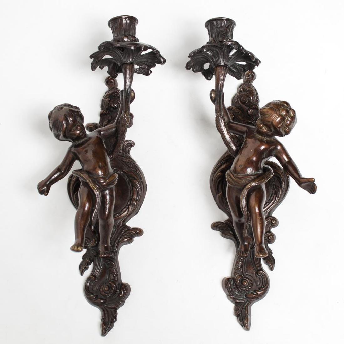 Italian Cherub Sconces, Pair in Bronzed Metal