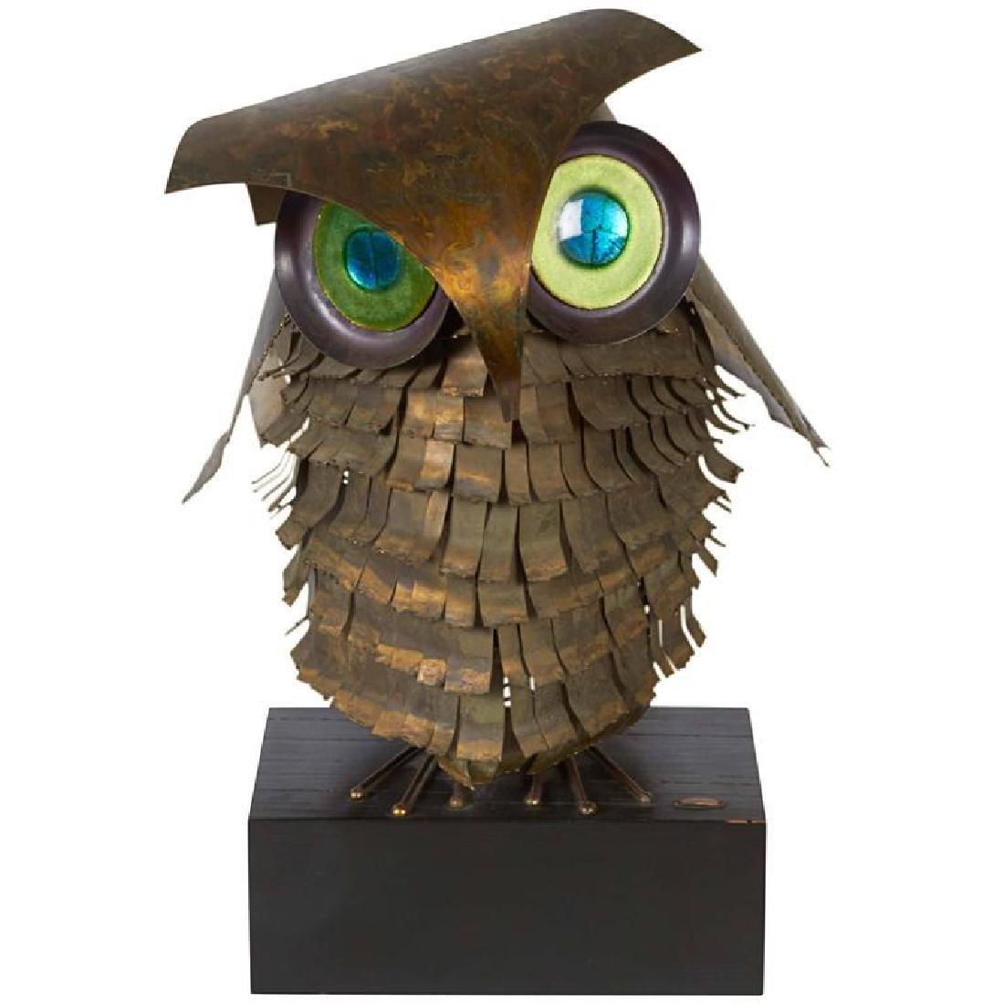 Curtis Jere Metal Owl Sculpture, Mid-Century