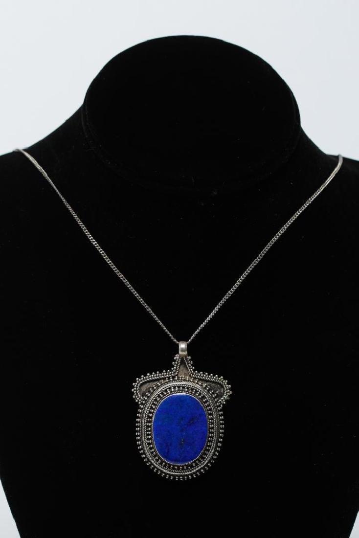 Lapis Lazuli & Silver Pendant Necklace