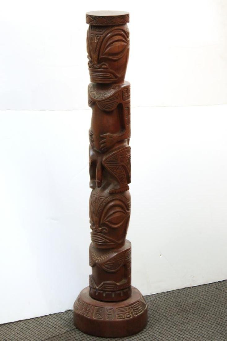 Ethnographic Tribal Carved Wood Totem- Sculpt.