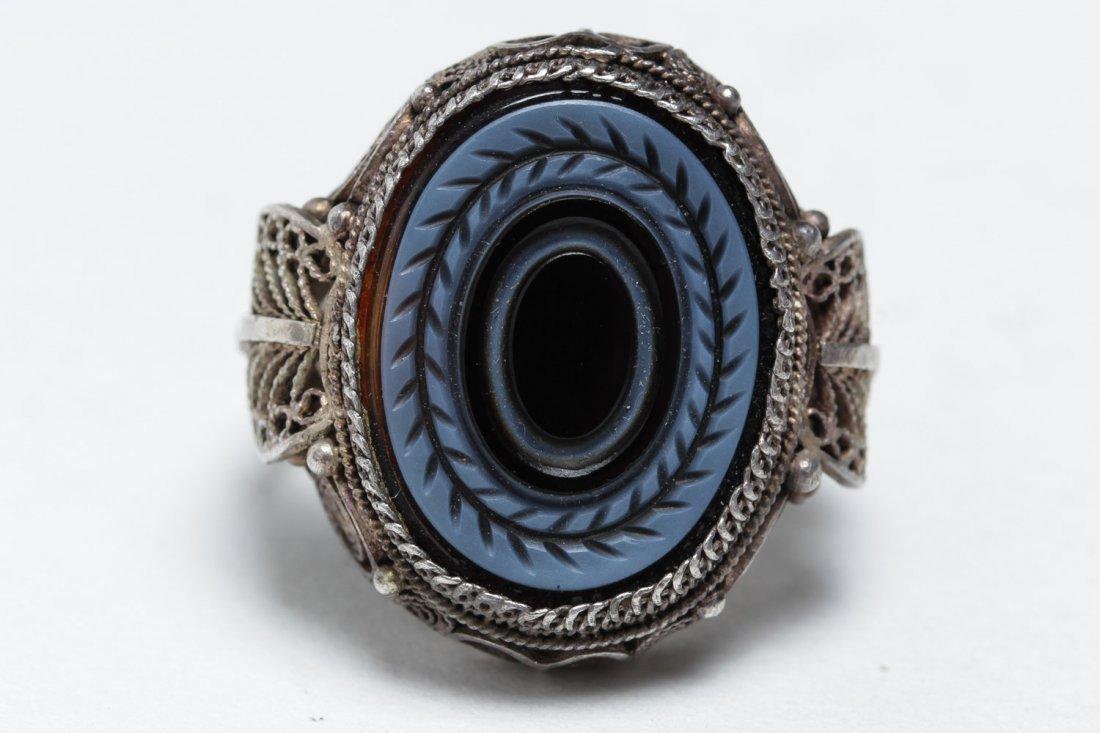 Polish Silver Filigree & Onyx Intaglio Ring - 2