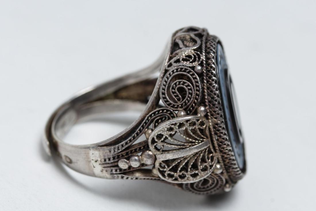 Polish Silver Filigree & Onyx Intaglio Ring - 3