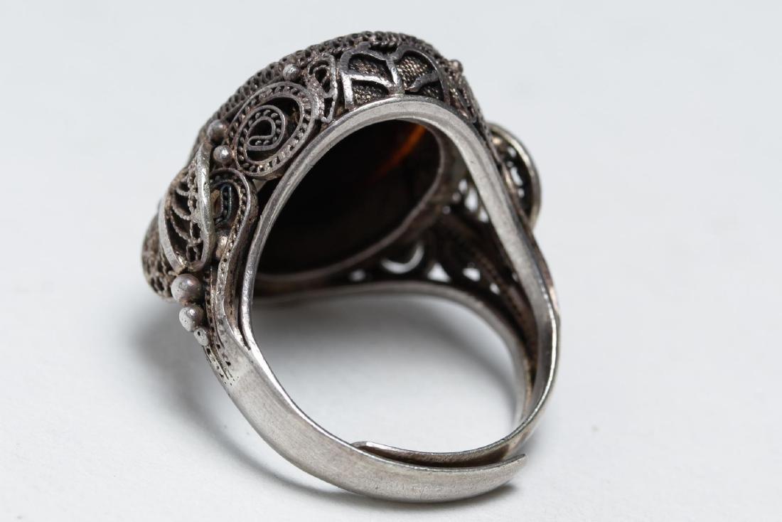 Polish Silver Filigree & Onyx Intaglio Ring - 4