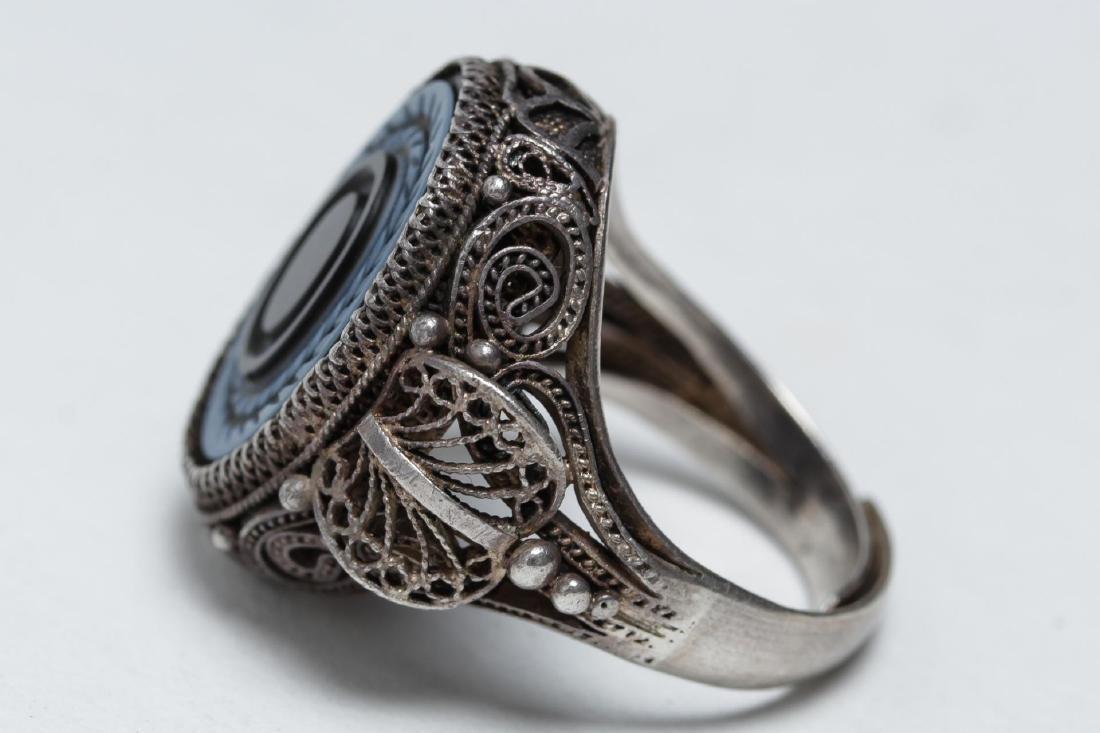 Polish Silver Filigree & Onyx Intaglio Ring - 5