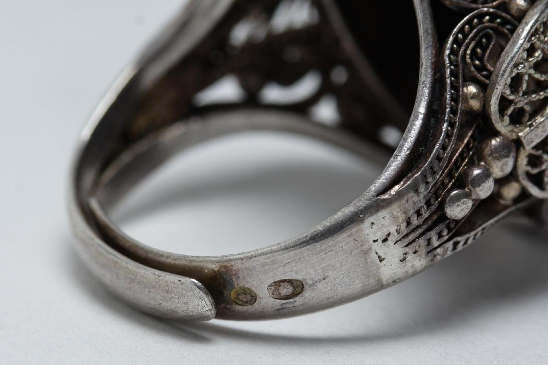 Polish Silver Filigree & Onyx Intaglio Ring - 6