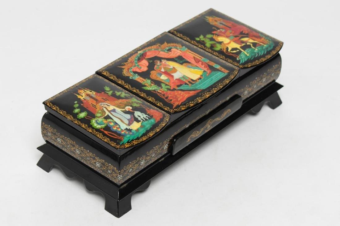 Rare Russian Lacquer Jewelry Box, 3-Compartment