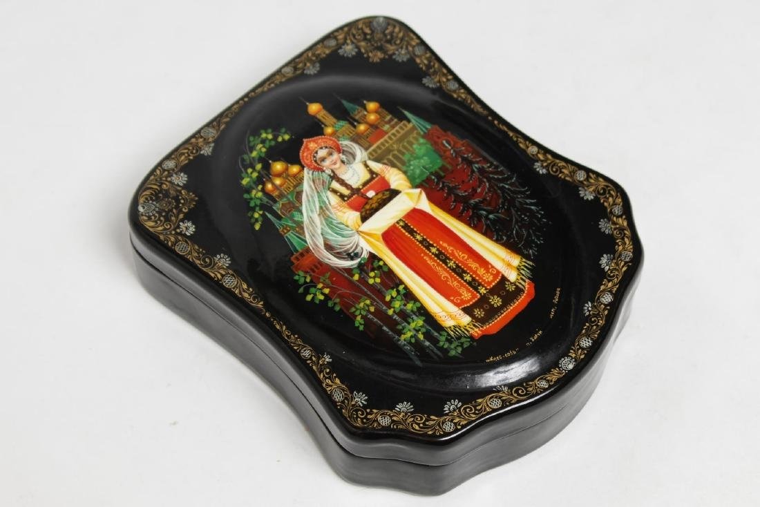"Russian Hand-Painted Lacquer Box, ""Bread & Salt"""