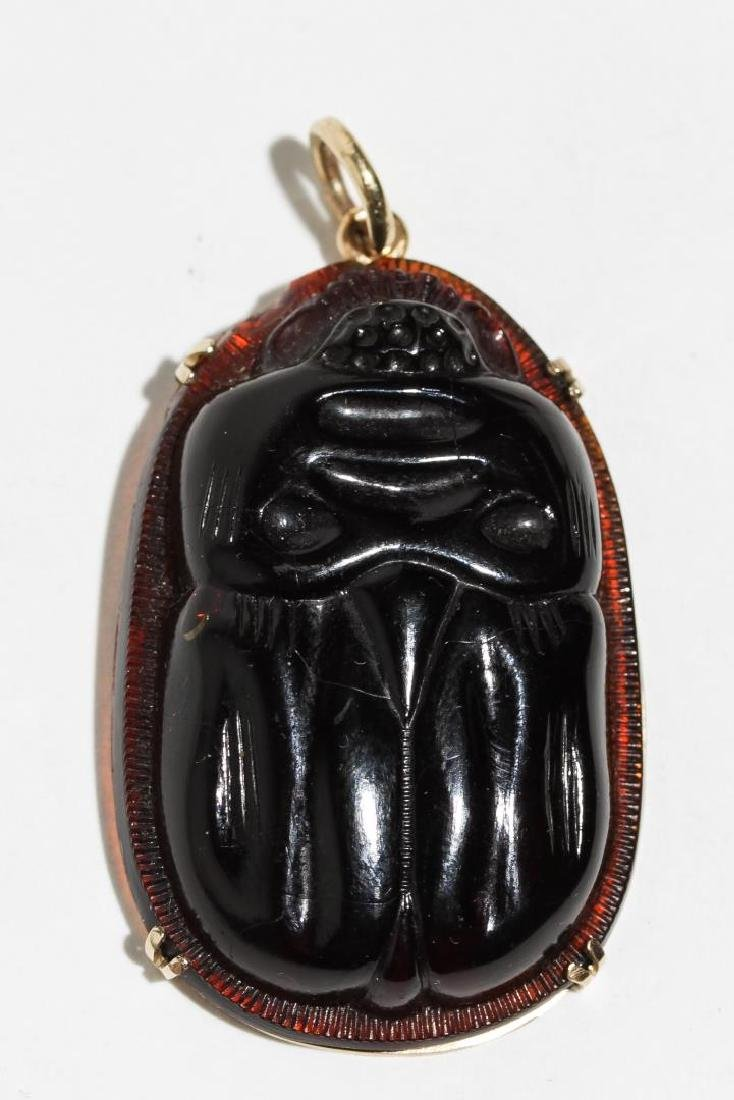 Scarab Pendant in 14K Gold Mount, Amber Glass
