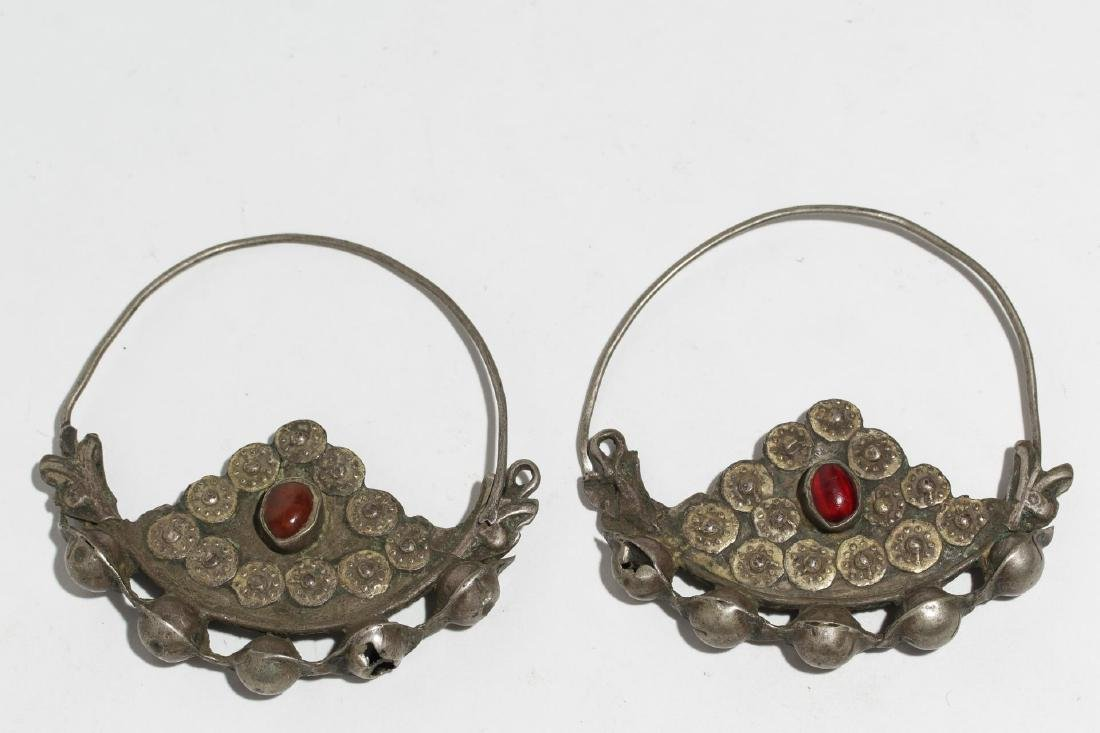 Tribal Silver Earrings, Likely Middle Eastern