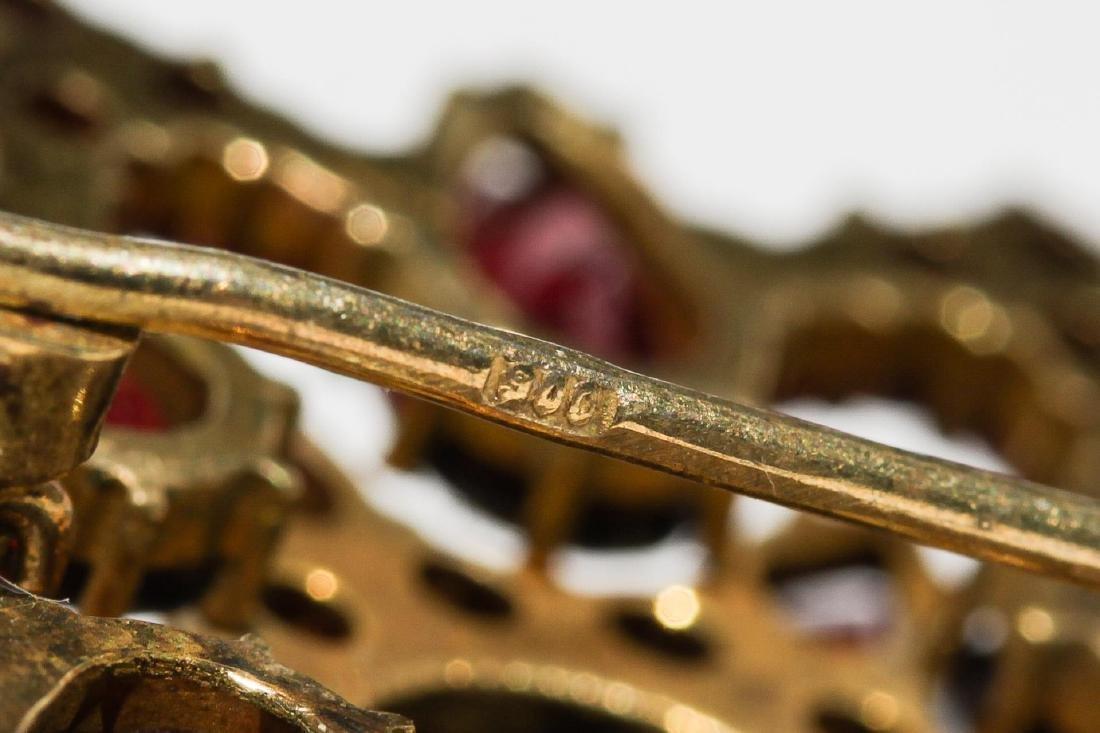 Bohemian Garnet Brooch in Vermeil Silver - 4