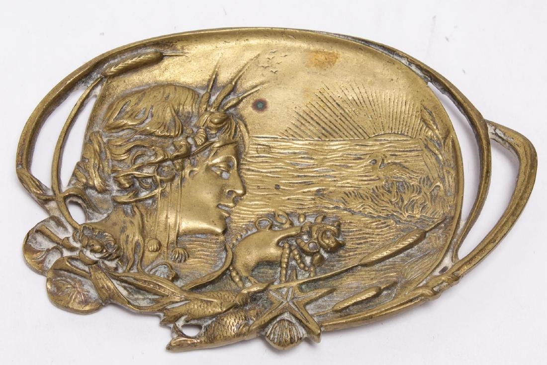 Art Nouveau Brass Calling Card Tray w. Seascape