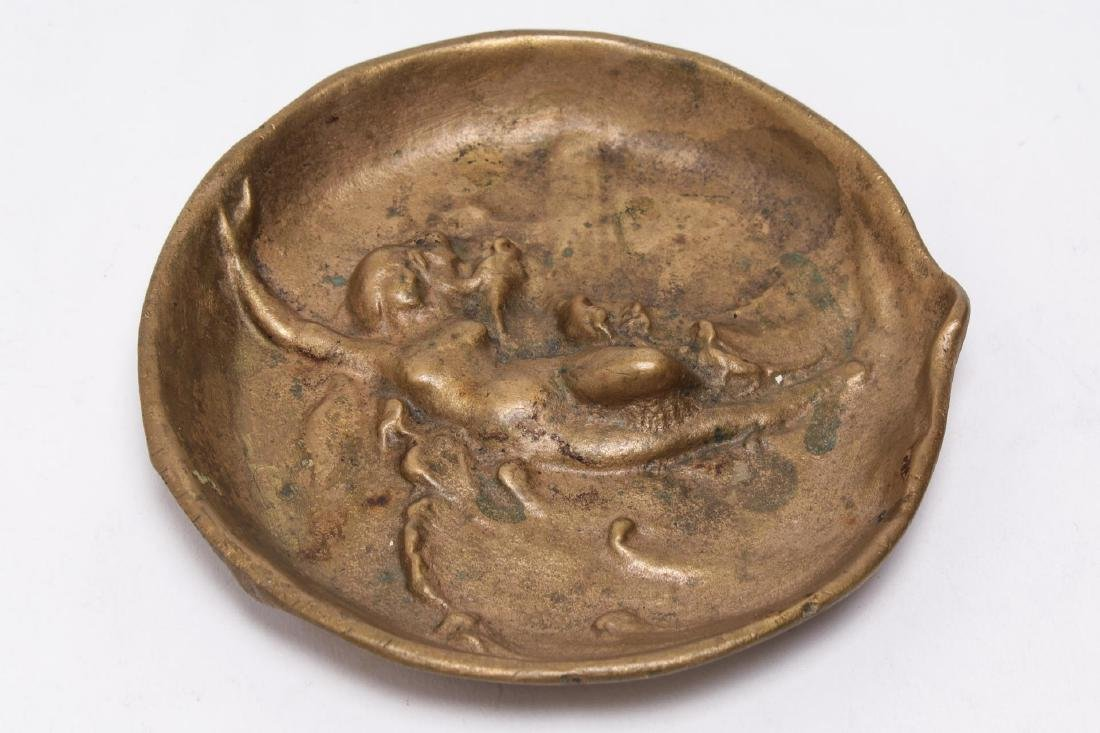 Art Nouveau Gilt Brass Trinket Tray with Nude