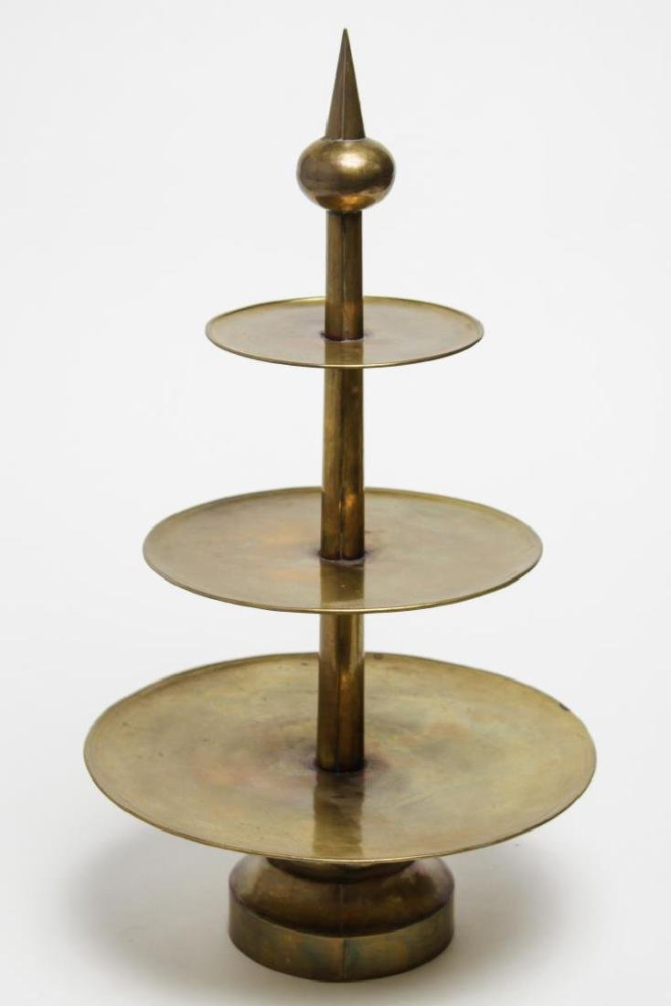 Mid-Century Modern Brass Serving Stand, Hand-Made