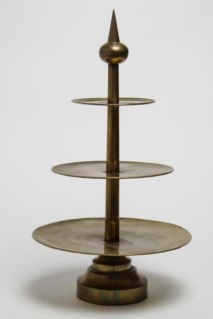 Mid-Century Modern Brass Serving Stand, Hand-Made - 2