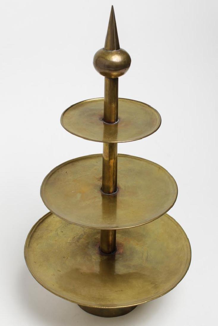 Mid-Century Modern Brass Serving Stand, Hand-Made - 3