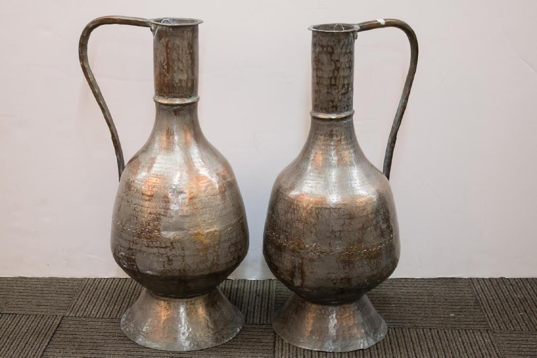 Turkish Monumental Copper Water Pitchers, 2