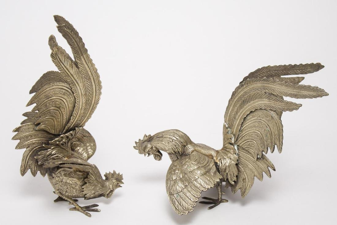 Continental Silver-Plate Fighting Cocks, Pair
