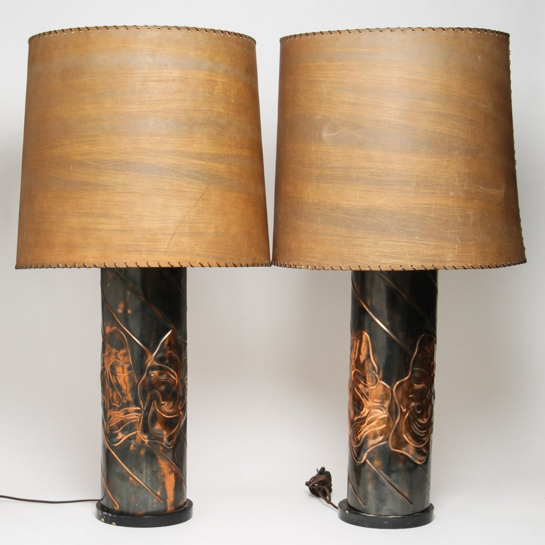 Hammered Copper & Marble Lamps, Vintage Pair