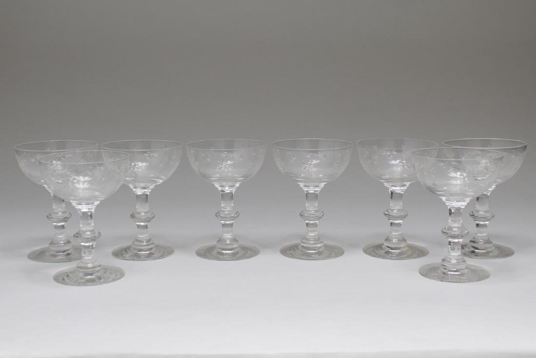 "Mid-Century ""Atomic Star"" Crystal Champagne Coupes"
