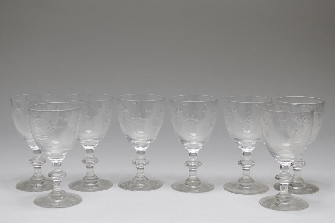 "Mid-Century ""Atomic Star"" Crystal Sherry Glasses"